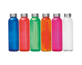 Transparent drinking bottle with grey lid
