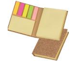 Sticky marker and sticky note book in a cork envelope