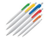 Stylo bille plastique blanc avec clip de couleur